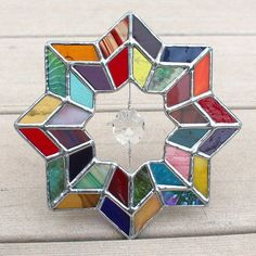 Multicolored Geometric Stained Glass Suncatcher with Glass Crystal