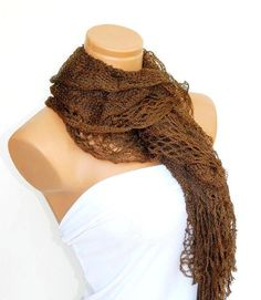 Latest Fashion filet knit brown women scarf by WomanStyleStore, $19.00