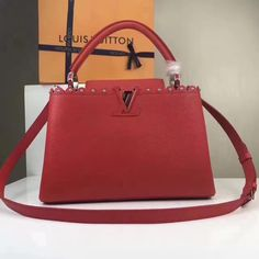 Louis Vuitton Taurillon Leather Capucines PM With Lace & Studs Edge Red 2017 ] : Real Bag Sale Louis Vuitton Red Purse, Vuitton Bag, Cowhide Leather, Calf Leather, Patent Leather, Designer Bags For Less, Red Bags, Monogram Canvas, Bag Sale