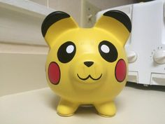Pikachu Pokemon Hand Painted Ceramic Piggy Bank by KaleyCrafts Pottery Painting, Ceramic Painting, Large Piggy Bank, Paper Mache Projects, Personalized Piggy Bank, Martha Stewart Crafts, Cute Piggies, Hand Painted Ceramics, Diy For Kids