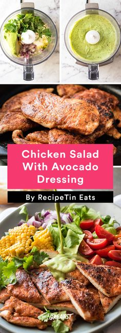 1. Chicken Salad With Avocado Dressing #healthy #chicken #recipes http://greatist.com/eat/easy-chicken-recipes-that-are-tasty-af