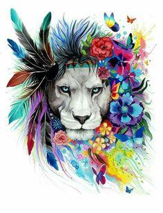 Leão aquarela