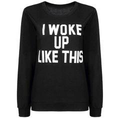 Yoins Yoins Black Sweatshirt ($16) ❤ liked on Polyvore featuring tops, hoodies, sweatshirts, shirts, sweaters, black, shirts & tops, pattern tops, print tops and black shirt