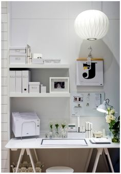 white workspace.