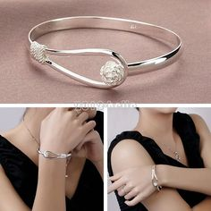 Women Silver Plated Nice Blossom Flower Bracelet Bangle Charm Cuff Jewelry Gift #Unbranded #Fashion