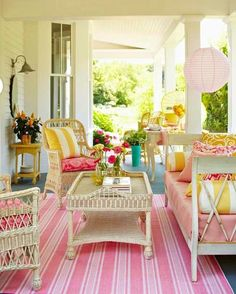 Creating a beautiful porch can make any home seem like a vacation home. Porch not only provide a practical function. A porch area can be used for sunbathing Outdoor Rooms, Outdoor Living, Outdoor Furniture Sets, Wicker Furniture, Cottage Furniture, Wicker Chairs, Outdoor Patios, Wicker Table, Outdoor Kitchens