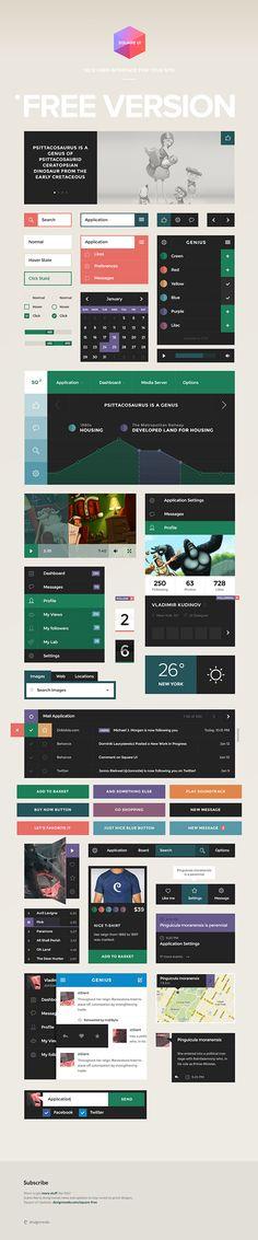 Square UI Kit (Free PSD)