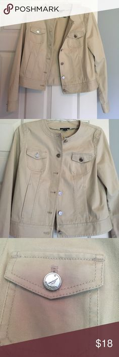 "Perfect condition Nautica jean khaki jacket Clean and practically new! Approximately 17"" across chest, would best fit a typically size small. Full length, not cropped. Measures about 20"" from top of shoulder to bottom! Offers are welcome! Nautica Jackets & Coats Jean Jackets"