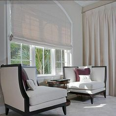 Roman Shades are a lovely way to bring color and great window design to a room. If you can imagine i. Arched Window Coverings, Curtains For Arched Windows, Arch Windows, Roman Curtains, Roman Blinds, Custom Roman Shades, Shades Blinds, Shades Window, Custom Drapes