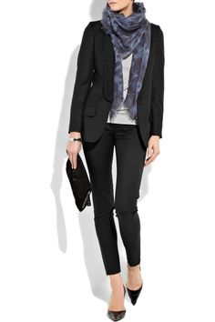 the black skinny pant is so versatile.  Dress up for work, dress them down with boots.  Black blazer, white tee, grey scarf. Women's business attire.