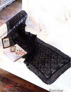 View album on Yandex. Knitting Club, Lace Knitting, Black Lace Table, Shetland, Lace Table Runners, Lace Scarf, Knitted Shawls, Fiber Art, Free Pattern