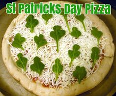 St Patricks Day Pizza - cut spinach to look like clovers - so cute!