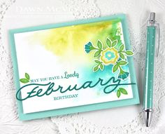 Lovely February Birthday Card by Dawn McVey for Papertrey Ink (February 2015)