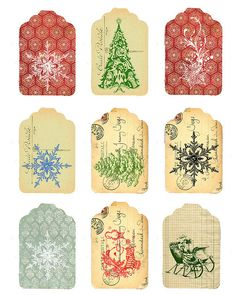 Vintage Christmas tags to download and print.