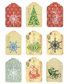 More free-to-use Christmas tags, vintage