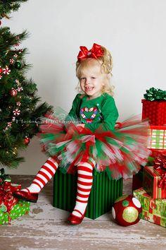 Christmas Tutu Set red white green Newborn Baby by TrinitysTutus
