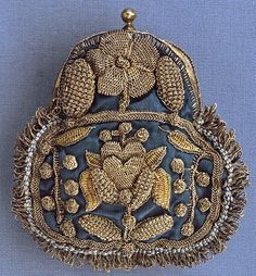 Purse, Place of origin: England, Great Britain (made) Date: ca. 1680 (made) Materials and Techniques: Silk, decorated with metal thread, with metal mount