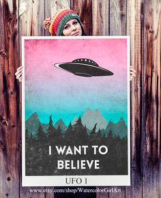 I want to believe poster. UFO poster. Aliens poster. Alien abduction. The X-Files. Handmade poster.  This listing is for one poster  Printed