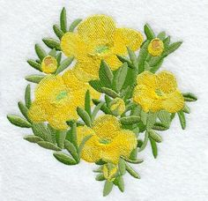 BUTTERCUP FLOWERS PLANT - 2 EMBROIDERED HAND TOWELS by Susan