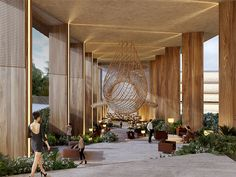 Designed by Sordo Madaleno Arquitectos. Sordo Madaleno Arquitectos (SMA) has revealed their recent competition proposal for St Regis Los Cabos, a hotel and residential project. Design Hotel, Design Entrée, House Design, Lobby Interior, Interior Architecture, Modern Hotel Lobby, Grand Hall, Casa Hotel, Hotel Safe