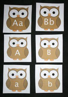 Classroom Freebies: Owl-Themed Upper and Lowercase Alphabet Cards Stephens-Linhart Owl Activities, Preschool Themes, Kindergarten Classroom, Classroom Teacher, Preschool Alphabet, Owl Theme Classroom, Classroom Freebies, Classroom Ideas, Upper And Lowercase Letters