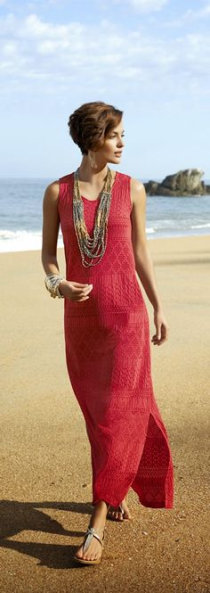 Summer Inspiration Maxi Dress - love the textured pattern and the beads