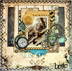 The best thing *Bo Bunny* - Romy Veul Bo Bunny with their stunning Somewhere In Time collection Heritage Scrapbook Pages, Vintage Scrapbook, Travel Scrapbook, Scrapbook Albums, Scrapbook Cards, Scrapbook Sketches, Scrapbook Page Layouts, Scrapbooking Ideas, Creations