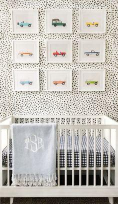 Nursery idea for boys car artwork from lesleemitchellart.com. Boys bedroom idea, nursery inspiration, decor for kids, truck art, car art, nursery wallpaper.