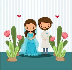 Cute Indian Couple In Traditional Dress For Wedding Illustration Illustrated Wedding Invitations, Indian Wedding Invitation Cards, Wedding Invitation Card Design, Wedding Cards, Invites, Wedding Card Design Indian, Indian Wedding Couple, Indian Bride And Groom, Bride And Groom Cartoon