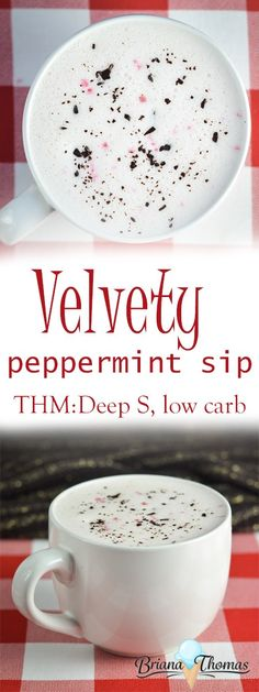 Velvety Peppermint Sip - THM:Deep S, low carb, sugar free, gluten/egg free with nut free suggestion