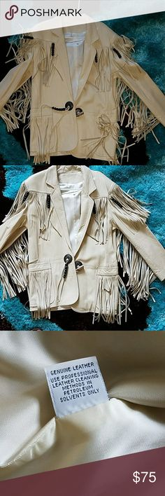 Coat Tan genuine leather fringe coat from cache .new with out tags t was a gift it  has been sitting in my closet  it's not my style Cache Jackets & Coats