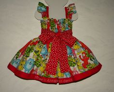 Yo Gabba Gabba Smocked Dress with Butterfly Sleeve, Custom Made in Sizes 12 month through T3. $60.00, via Etsy.