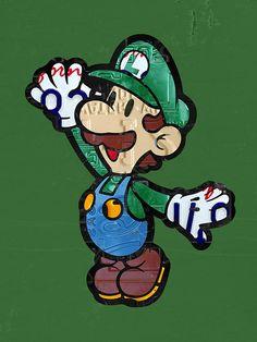 Luigi from Mario Brothers Nintendo Original Vintage Recycled License Plate Art Portrait.