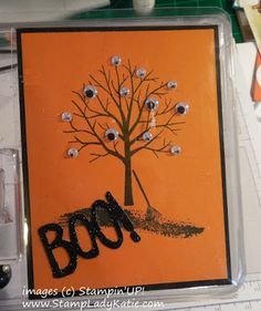 Adorable spooky. Bare branched tree with lots of googlie eyes . . . #Halloween #EyeballTree #StampinUp