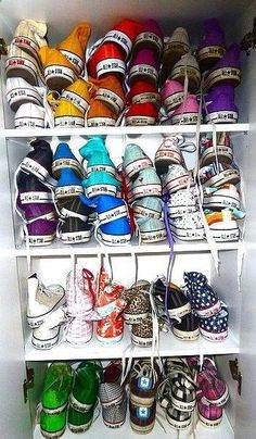 Collect all (mainly solid) color Converse in both low and high tops in light pink, red, regular green, sky blue, maroon, regular black and white, all white, all black, brown, gray, all black, hot pink, dark/light orange, regular/highlighter yellow, lime green, royal blue, teal, dark purple, and violet