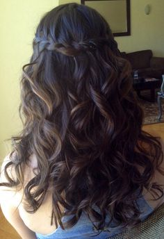 Half up-Half down hair with waterfall braid