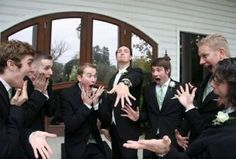Cute wedding picture idea for the groom and groomsmen!