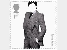 Tommy Nutter- Johnson Banks has designed a set of first class stamps for The Royal Mail celebrating ten British fashion designers.