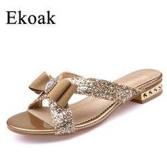 08442537293410 Ekoak New 2017 Fashion Women Sandals Ladies Sexy Crystal Bling Bowtie Party Dress  Shoes Woman Summer