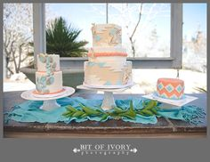 Geometric and Native American Coral and Turquoise Wedding Cake