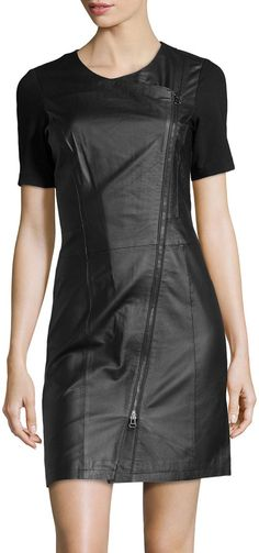 $93, Black Leather Sheath Dress: Neiman Marcus Asymmetric Leather Combo Dress Black. Sold by Last Call by Neiman Marcus. Click for more info: https://lookastic.com/women/shop_items/141257/redirect