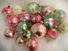 Image detail for -... Vtg Pink & Mint Green Christmas Tree Mercury Glass Ornaments For Sale