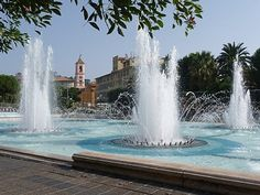 Fountains at Place Massena - Nice France. . Our tips for things to do in Nice, France: http://www.europealacarte.co.uk/blog/2011/06/09/things-to-do-nice/