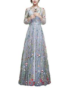 8943dac632ea1 JoJoBridal Women s Floral Long Floral Prom Dresses With Sleeves Grey Size 8  花柄のウエディング