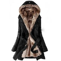 $50.48 Long Sleeves Hooded Thickened Faux Fur Lined Waistband Beam Waist Pockets Korean Style Casual Women's Coat