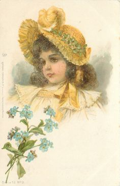 head & shoulders study of girl in pale yellow dress, yellow trim & hat, forget-me-nots below