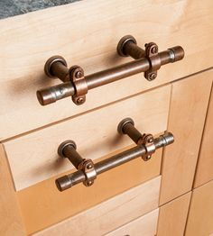 Industrial Copper Cabinet Handles I like the handles but not really the cabinets.