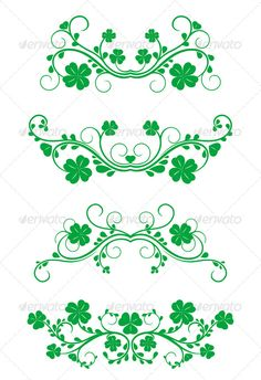 Floral frames with clover - Flourishes / Swirls Decorative Irish Symbols, Old School Tattoo Designs, Decoupage, St Patricks Day Quotes, Wedding Labels, Vinyl Crafts, Vintage Frames, Flourish, Vector Design
