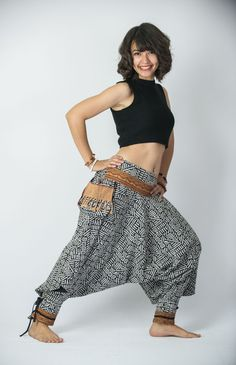 Woven Prints Thai Hill Tribe Fabric Women Harem Pants with Ankle Strap