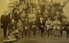 """The """"Forty Thieves"""" with lion cubs at the Cairo Conference March The cubs were being taken to London Zoo. Seated (front row): Field Marshal Lord Allenby, Winston Churchill and others. Gertrude Bell, Economic Geography, Lawrence Of Arabia, Field Marshal, Winston Churchill, Crime, History, Painting, Conference"""